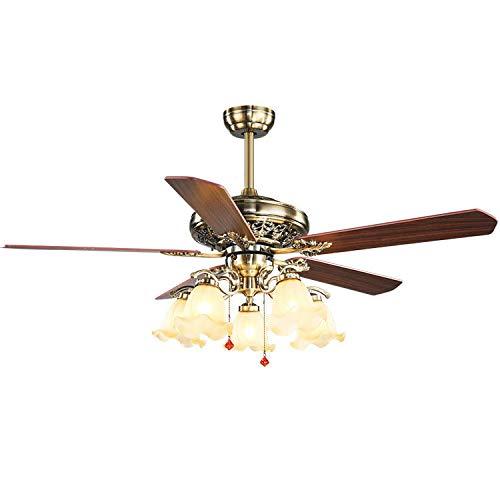 YIKUI LED Deckenventilator mit Licht, europäischen Stil einfache Holz Haushalt fünf Lampen Deckenventilator, geeignet für Wohnzimmer, Esszimmer Dekoration Beleuchtung Ventilator,Drawstring,52in