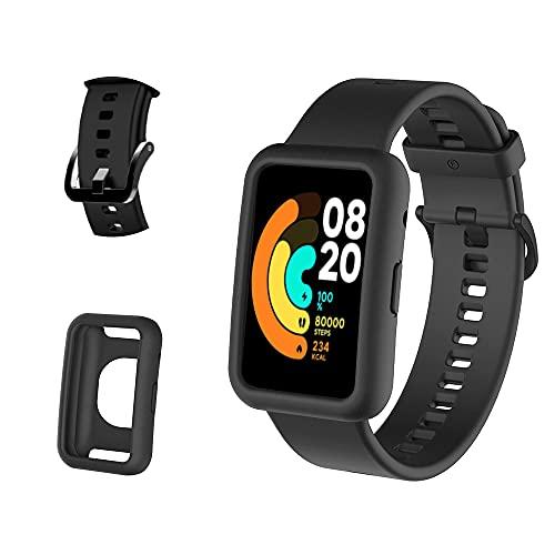 PaceBid Correas + Funda Compatible con Xiaomi Mi Watch Lite/Redmi Watch Lite, Bandas Repuesto Respirable Ajustable Pulsera Silicone Sport Pulsera Banda para Xiaomi Mi Watch Lite (Black)