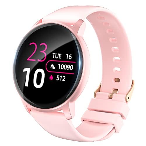 Colel Smartwatch, Fitnessuhr Damen Herren 1.3 Zoll Armbanduhr mit Pulsuhr, Schlafanalyse, Schrittzähler, Kamerasteuerung, IP68 Wasserdicht Fitness Tracker Sportuhr für IOS, Android (Rosa)