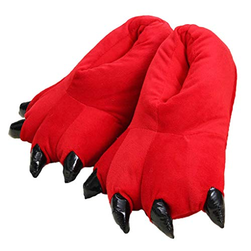 Unisex Peluche Pantofole Animal Costume Paw Claw Shoes Zampa di Dinosauro (39/43 EU,Red)