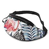 JOCHUAN Paquete de Riñonera Exótica Pink Flamingo Zebra On Waiste Bolsas con Conector para Auriculares y Correas Ajustables Bolso de Cintura para niños para Viajes Deportes Senderismo