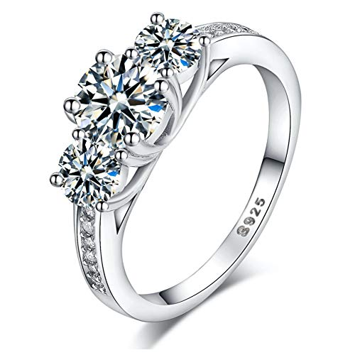 925 Sterling Silver Brilliant Round Cut Crystals Trilogy Love Forever Eternity Engagement Wedding Rings for women, teenage girls with Gift Box, Ideal Gift for Christmas (K)