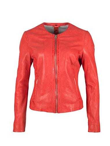 Gipsy Kragenlose Damen Lederjacke Kurzjacke aus weichem und leichten Lammleder - GGGlorya LNICV (Orange Rot, L)