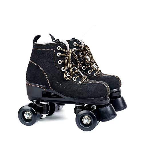 WuJiPeng Roller Skates, Classic Suede 4 Wielen Schaatsen Voor Buiten, Retro Roller Skates, Volwassene, voor Man En…