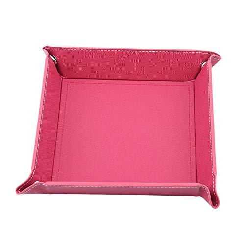 Bandejas organizadoras de cuero sintético plegable bandeja para llaves de teléfono, monedero de almacenamiento de escritorio caja de artículos de papelería accesorios (color: rojo vino)