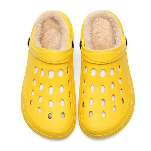 ypyrhh Pantuflas cálidas de algodón para invierno, de felpa cálida para parejas, zapatillas de algodón para el hogar, color amarillo, 38, con forro polar de felpa, antideslizantes para interiores