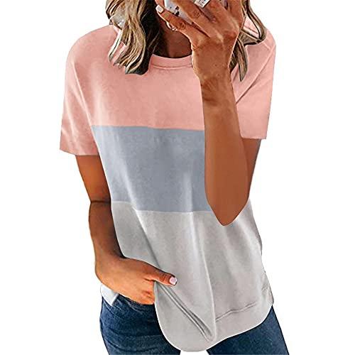 T-Shirt Mujer Verano Básica Cuello Redondo Manga Corta Blusa Mujer Contraste Color Versión Suelta Casual Cómodo Sencillez Desgaste Diario Tops Mujer H-Pink Grey1 L