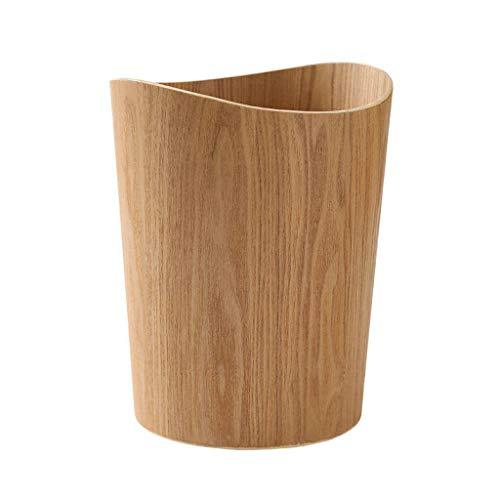 BEIGOED Mülleimer Aus Holz Keine Abdeckung,Haushalt Schlafzimmer Wohnzimmer Büro Badezimmer Papierkorb Lagereimer-A