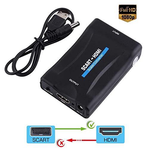 Scart a HDMI Convertidor, Conversor Euroconector a HDMI para TV, Audio Video Converter Scart to HDMI Adaptador para 720P / 1080P Salida HDTV Monitor Proyector STB VHS Xbox PS3 DVD