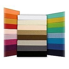 SHC Textilien Sábana Ajustable Jersey Timeless - Todos los tamaños y Colores - 100% algodón - 180 a 200 x 200 cm - Arena/Cappuccino