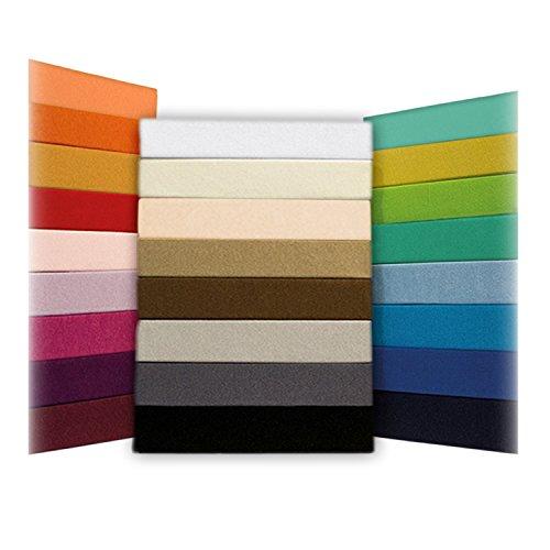 SHC - Jersey Spannbettlaken, Spannbetttuch, 100% Baumwolle - 140x200 cm bis 160x200 cm, Silber/hellgrau