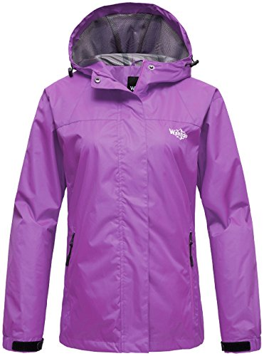 Wantdo Women's Zip Rain Jacket Windproof Windbreaker Outwear Coat for Mountaineering Purple L