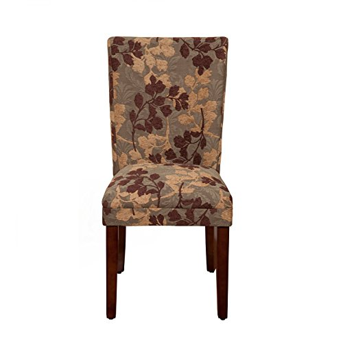 HomePop Parsons Classic Upholstered Accent Dining Chair,  Single Pack, Brown Sage Leaf