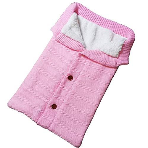 Sunday_Babykleidung Neugeborenes Baby Decke Schlafsack Häkeln Winter Warme Swaddle Wrap Decke (26.7x15.7inch, Rosa)