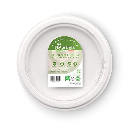 Naturanda - Piatti Piani Bianchi - Biodegradabili Usa e Getta, Piatti Bio Riciclabili Rigidi, Made in Italy, Party, Kit Stoviglie Compostabili Ecologiche – (50pz)