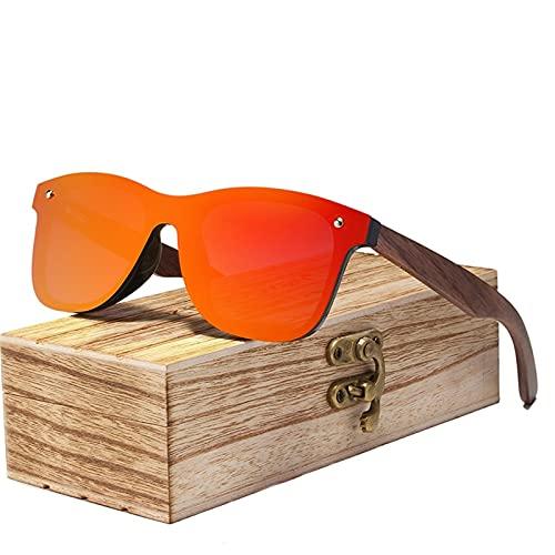 RHNTGD Polarisierte Herren Sonnenbrille,KINGSEVEN Holzbügeln aus Walnuss für Damen & Herren,UV400 Brille, Strandreisen Unerlässlich für Fahren Angeln Reisen (Red)