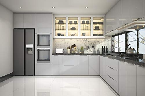 KINLO grau glanz Möbelfolie 5x0.6M 5pcs (15㎡) PVC Klebefolie Küchenschrank Aufkleber Selbstklebend Küchenfolie Deko Plotterfolie MIT GLITZER