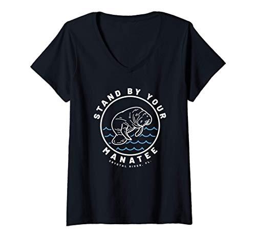 Mujer Manat Stand By Lindo regalo para los amantes de los animale Camiseta Cuello V