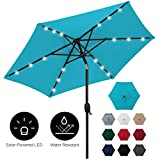 Best Choice Products 7.5ft Outdoor Solar Patio Umbrella for Deck, Pool w/Tilt, Crank, LED Lights - Sky Blue