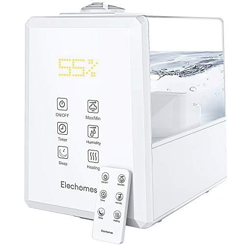 Elechomes Ultraschall Luftbefeuchter 6L, Warmer und Kühler Nebel mit Fernbedienung, Angepasste Luftfeuchtigkeit, Dual 360° Drehbare Dampfdüsen, Schlafmodus, 12 Stunden Timer, 40-70 m² - EC5501