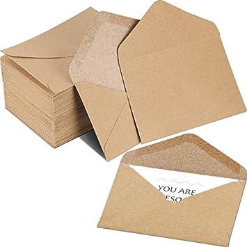 Amazon Com Paquete De 400 Mini Sobres De Papel Kraft Marrón Para Tarjetas De Regalo Pequeñas Invitaciones Notas De Negocios Minitorcas Tarjetas De Felicitación Office Products