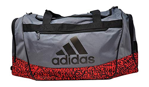 adidas Defender III Medium Duffel Bag, Onix/Scarlet Dapple/Black, One...