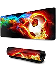 Extended Large Gaming Mouse Pad, Computer Keyboard Mouse Mat Non-Slip Mousepad Rubber Base and Stitched Edges for Game Players, Office, Study 700x300x3mm Thick (Soccer)