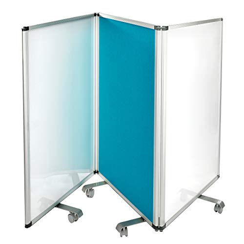 """AdirOffice Double-Sided Whiteboard & Flannel Partition – 45""""x32x - Mobile Writing and Display Room Dividers - Colorful Versatile Rolling Partition Perfect for Homes and Commercial Use (Blue)"""