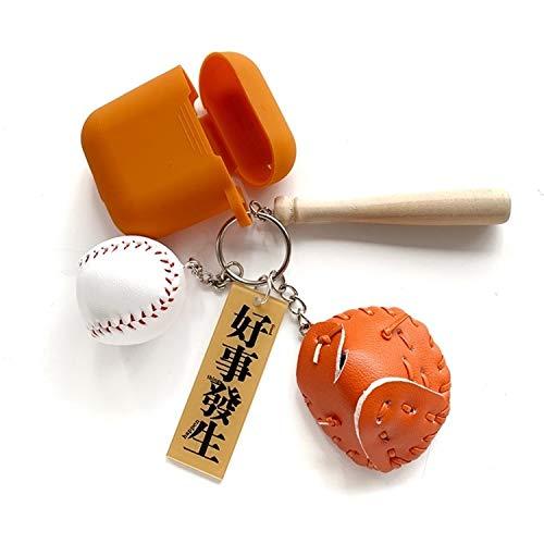 Anbel for Airpods drahtlose Kopfhörer Silikon-Schutzhülle mit Schlüsselring & Baseball-Anhängern (braun)