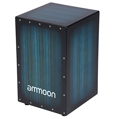 Ammoon Cajon Wooden Box Drum, Hand Drum, Percussion, Wood with Stings,...