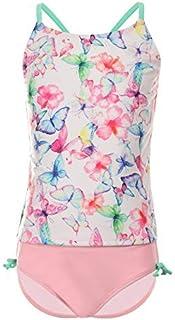 DAYU Girls' Tankini Beach Sport 2-Piece Swimsuit White Butterflies Printed 10-12 [並行輸入品]