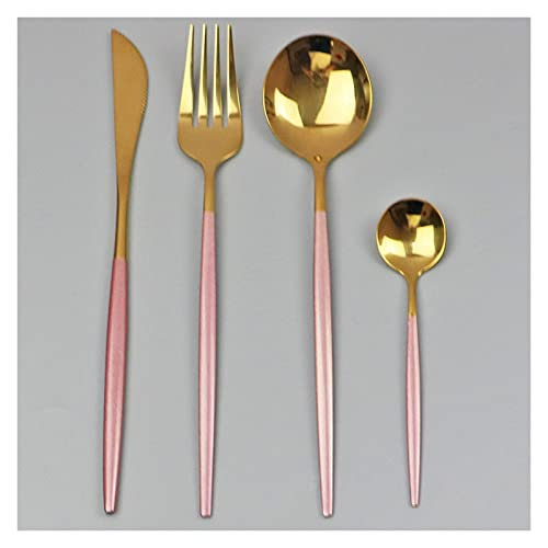 4pcs Black Gold Vajilla Set 304 Acero inoxidable Vajilla Cutlety Set Cuchillo Tenedor Cuchara Cocina Cena Cena Cena Secado (Color : Pink Gold)