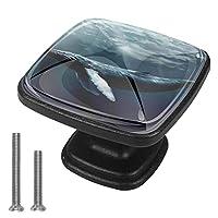 キャビネットノブ4個クリスタルガラスプルハンドルホルターホエールジャンプ 家具のドアまたは引き出しを開く場合