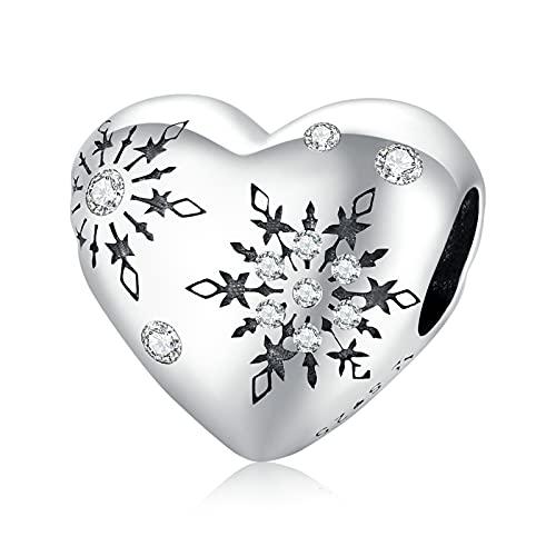 HMMJ S925 Conjuntos de Abalorios Colgantes de Plata de Ley, Regalo Colgante de Copo de Nieve de Amor de Invierno DIY para Mujer niña Compatible con Pandora Troll Chamilia Charm Bracelet