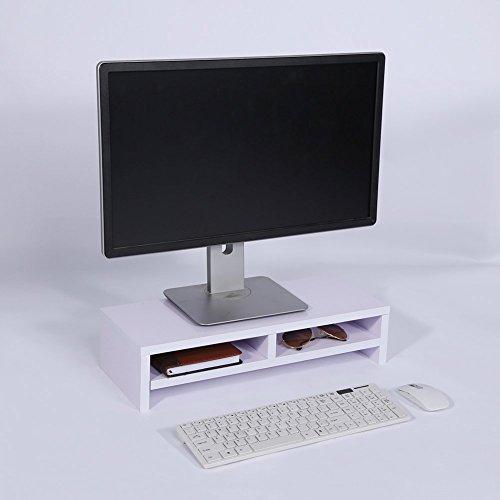 Yosoo Soporte de Madera Universal con Organizador para Monitor, TV, Portátil, Estante de Escritorio para Elevar la Pantalla de Sobremesa, 50 * 20 * 11,7cm (Blanco)