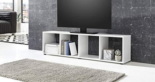 ambiato TV Lowboard Weiß matt 4 Fächer TV Schrank Raumteiler Regal Fernsehschrank Made in Germany