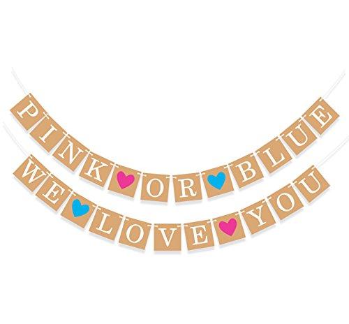 """Sterling James Co. """"Pink Or Blue, We Love You"""" Rose ou Bleu Nous t'Aimons - Baby Shower - Décorations pour Annonce de Grossesse Fille ou garçon"""