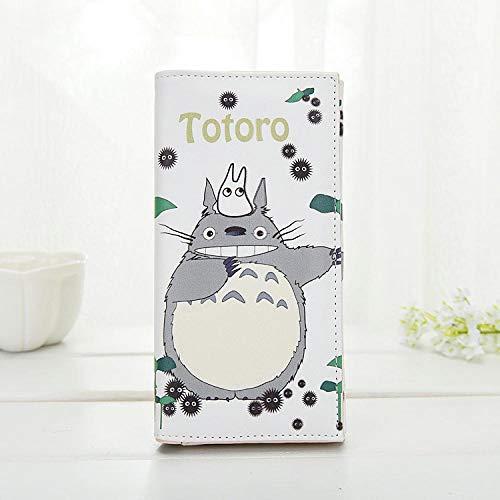 ZHOUBIN Geldbörse Anime Mein Nachbar Totoro Long PU Button Weiß Manga brieftasch münzfach Kreditkarte ausweis kartenhüllen Geldtasche Wallet Brieftasche portmonee