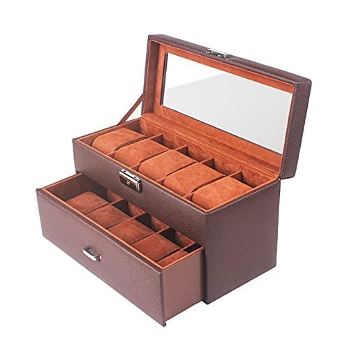 Caja de Relojes para Organizadora y Exhibición, Exquisitos 2 capas 10 rejillas de reloj Organizador de la caja con el cajón y la pantalla de la pantalla de cristal, la caja de almacenamiento de joyerí