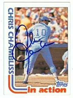 Chris Chambliss autographed baseball card (Atlanta Braves) 1982 Topps #321 In Action - Autographed Baseball Cards