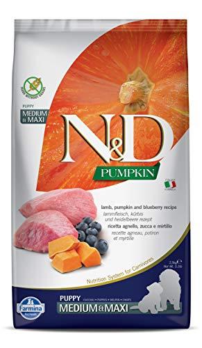 FARMINA N&D Pumpkin Dry Dog Food, Grain-Free, Puppy Medium & Maxi Breed, 2.5-kg, Lamb and Blueberry