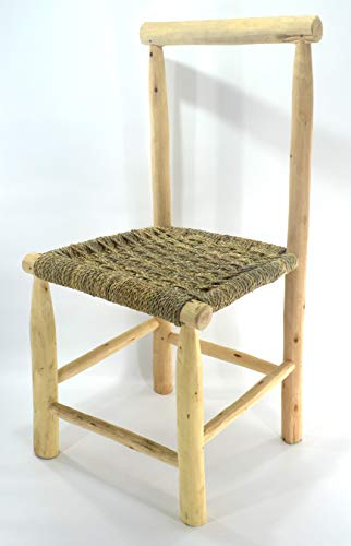Handmade Moroccan craft dining chair stool from wicker rope and natural laurel wood - Seat W 40 L 52 H 37 cm Back 90 cm