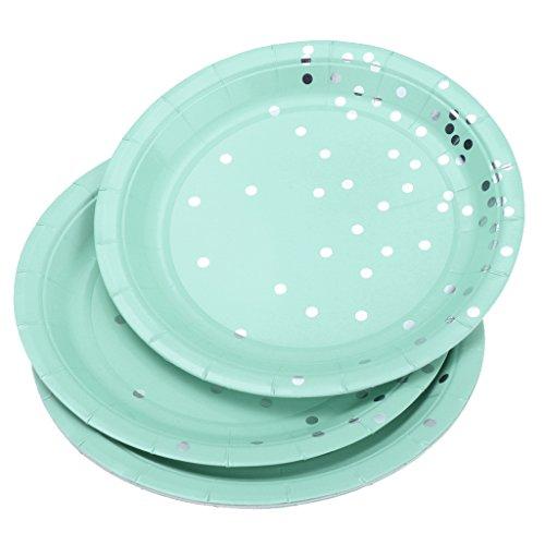 yotijar 8 platos de papel desechables chapados en oro, diseño de lunares, color azul