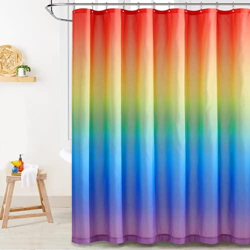 NICETOWN Duschvorhang Stoff Badewanne Vorhang mit Regenbogen Farbverlauf Wasserdichter Duschvorhang 180x180 cm mit 12 Haken
