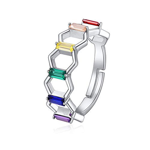 Silvora anillo mujer plata 925 Arco iris gay lqbtq anillos amistad boda...