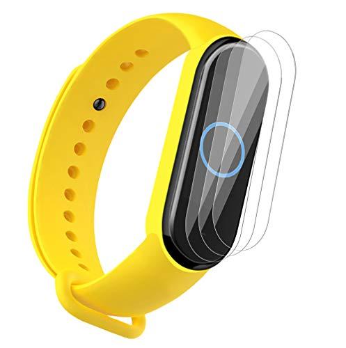 NOKOER Cinturini per Xiaomi Mi Band 5, [2 in 1] TPU Silicone Cinturino + 3 Pezzi Pellicola Protettiva, [Resistente all'Usura] [Traspirante] per Xiaomi Mi Band 5 - Giallo