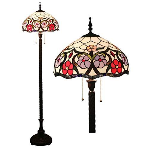 BDHBB Lampadaire LED, lampadaire de Style européen rétro Tiffany, lampadaire en Verre teinté de 16 Pouces, Lampe de Chevet, Lampes de Sol Tiffany pour Le Salon