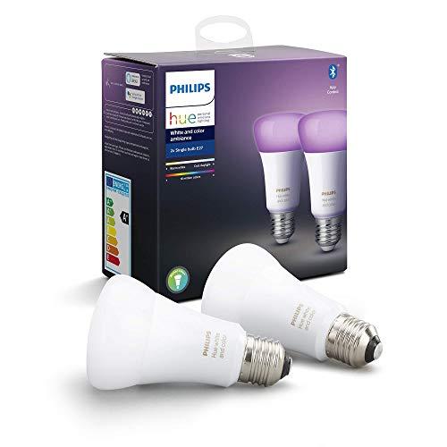 Philips Hue Pack de 2 Bombillas Inteligentes LED E27, con Bluetooth, Luz Blanca y Color, Compatible con Alexa y Google Home