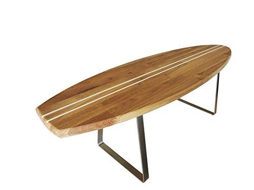 ICEBORN Surfboard Aloha 118cm Eiche Edelstahl Couchtisch Wohnzimmertisch Sitzbank Lowboard TV-Board Manufaktur