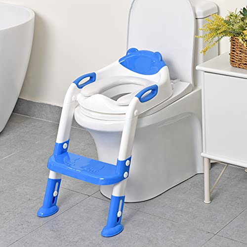 711TEK Potty Training Seat Toddler Toilet Seat with Step Stool Ladder,Potty Training Toilet for Kids Boys Girls Toddlers-Comfortable Safe Potty Seat Potty Chair with Anti-Slip Pads Ladder (DarkBlue)